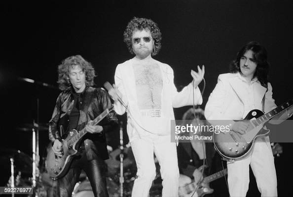 American rock group Blue Oyster Cult performing on stage USA 30th January 1977 Left to right Allen Lanier Eric Bloom Joe Bouchard and Donald 'Buck...