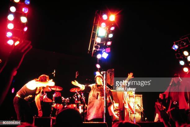 American Rock group Blues Traveler take a bow after their performance at an unspecified venue New York New York 1995 Pitcured are from left Chan...