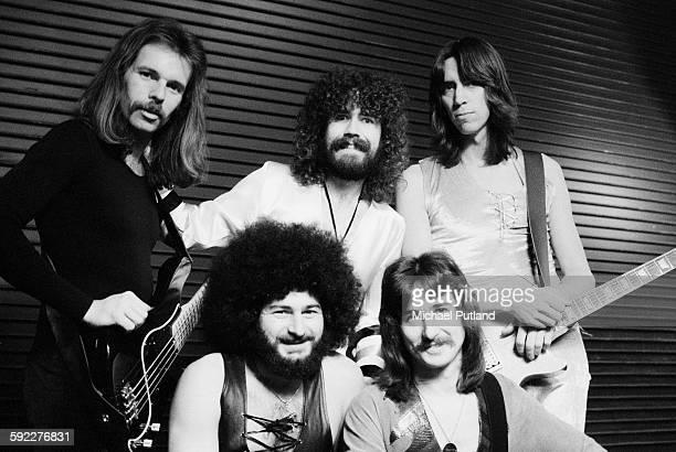 American rock group Boston USA 30th January 1977 Clockwise from front left drummer Sib Hashian bassist Fran Sheehan singer Brad Delp guitarist Tom...