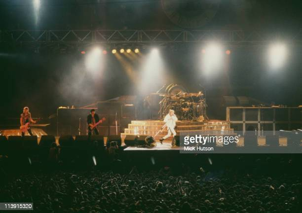 American rock group Guns N' Roses performing on stage at the at the Maracana stadium during the Rock in Rio II festival Rio de Janeiro Brazil 18th...