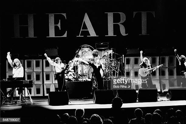 American rock group Heart performs onstage at the Universal Amphitheatre Los Angeles California July 15 1977 Pictured are from left American...
