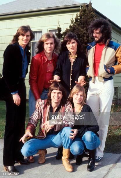 American rock group Heart Seattle USA 13th February 1978 LR Roger Fisher Howard Leese Ann Wilson Michael DeRosier Steve Fossen Nancy Wilson