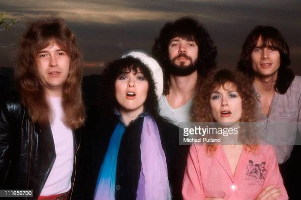 American rock group Heart USA February 1980 Left to right guitarist Howard Leese singer and guitarist Ann Wilson drummer Michael DeRosier singer and...