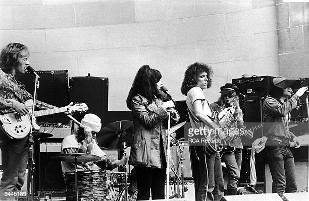 American rock group Jefferson Airplane performs on stage at the Central Park bandshell New York City August 1969 LR Guitarist Paul Kantner drummer...