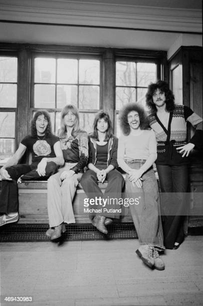 American rock group Journey New York 1978 Left to right drummer Aynsley Dunbar bassist Ross Valory singer Steve Perry guitarist Neal Schon and...