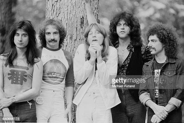 American rock group Journey New York June 1979 Left to right drummer Steve Smith guitarist Neal Schon bassist Ross Valory keyboard player/singer...