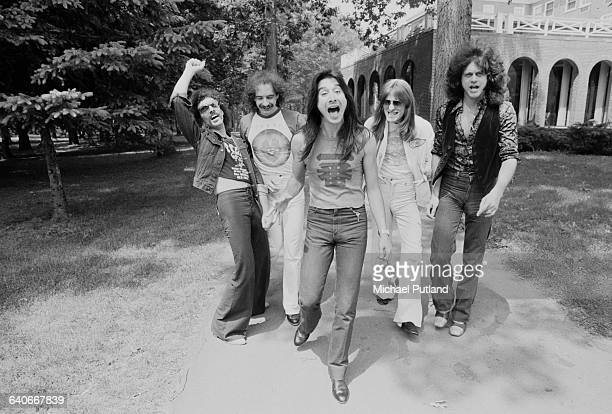 American rock group Journey New York June 1979 Left to right guitarist Neal Schon drummer Steve Smith singer Steve Perry bassist Ross Valory and...