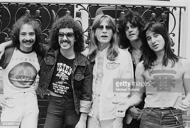 American rock group Journey New York June 1979 Left to right singer Steve Perry drummer Steve Smith bassist Ross Valory keyboard player/singer Gregg...