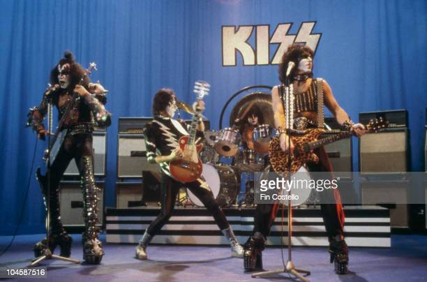 American rock group Kiss performing on stage circa 1981 Left to right Gene Simmons Ace Frehley Eric Carr and Paul Stanley