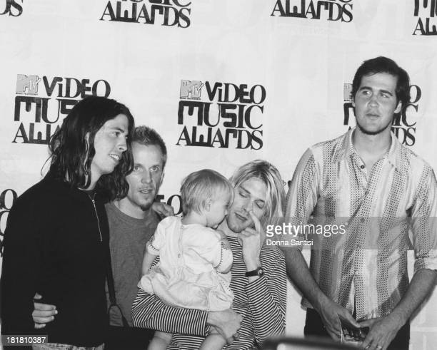 American rock group Nirvana at the MTV Video Awards at the at the Gibson Amphitheatre Los Angeles 2nd September 1993 Left to right drummer Dave Grohl...