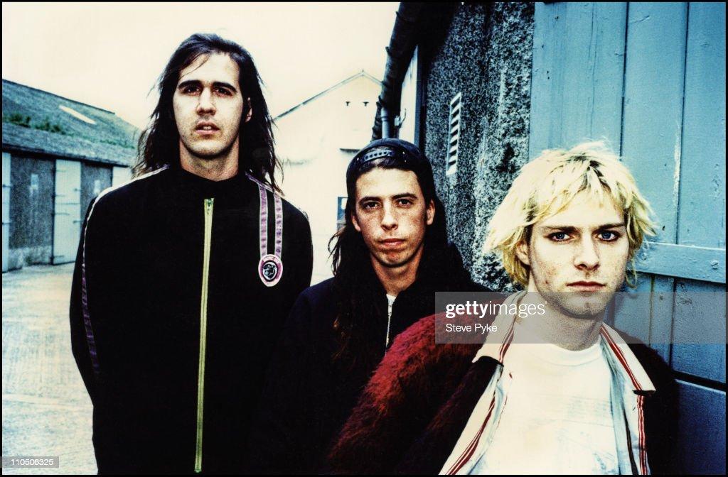 American rock group Nirvana, Belfast, 1992. Left to right: bassist Krist Novoselic, drummer Dave Grohl and guitarist/singer Kurt Cobain (1967 - 1994).