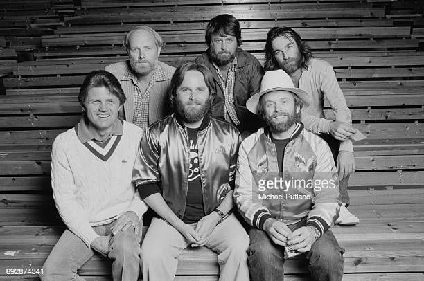 American rock group The Beach Boys Oslo Norway 1982 Back row left to right Mike Love Brian Wilson and Dennis Wilson Front row left to right Bruce...