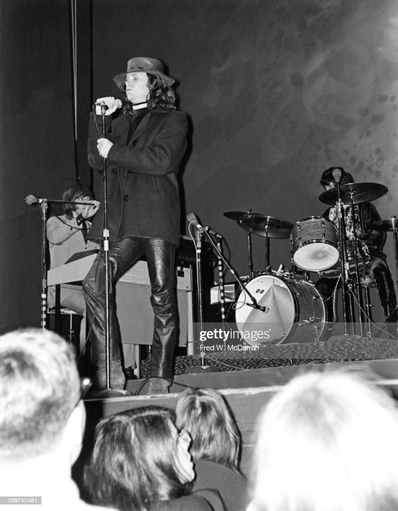American rock group the Doors perform on stage at the Fillmore East concert venue, New York, New York, March 22, 1968. Pictured are, from left, keyboard player Ray Manzarek, singer <a gi-track='captionPersonalityLinkClicked' href=/galleries/search?phrase=Jim+Morrison&family=editorial&specificpeople=200754 ng-click='$event.stopPropagation()'>Jim Morrison</a> (1943 - 1971), and drummer John Densmore; guitarist Robby Krieger is off camera at right.