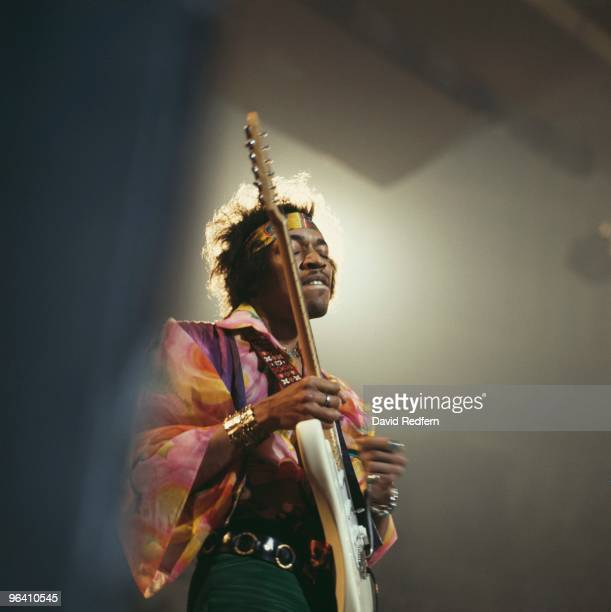 Jimi Hendrix performs on stage at the Royal Albert Hall on February 24th 1969 in London Image is part of David Redfern Premium Collection