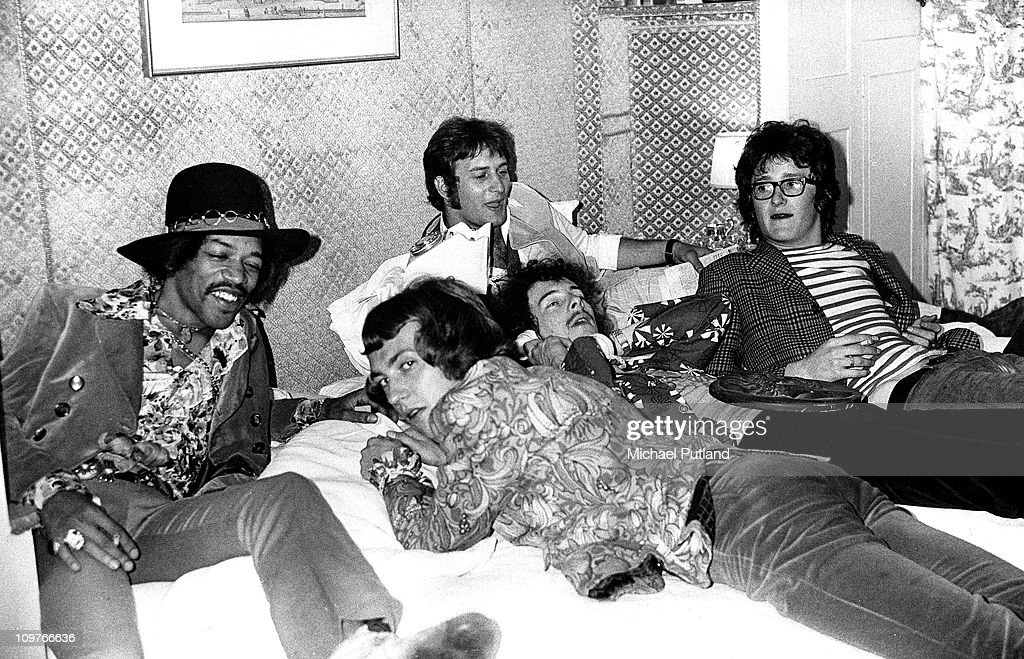 American rock guitarist Jimi Hendrix bassist Noel Redding and drummer Mitch Mitchell of the Jimi Hendrix Experience with DJ Emperor Rosko and Lord...