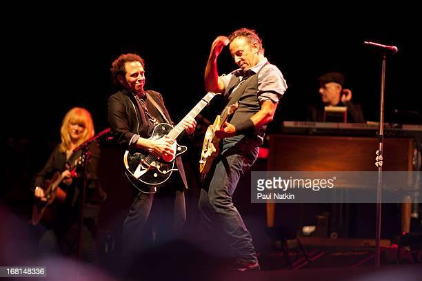 American rock musician Bruce Springsteen performs on stage with the E Street Band during the 'Wrecking Ball' tour at Wrigley Field Chicago Illinois...