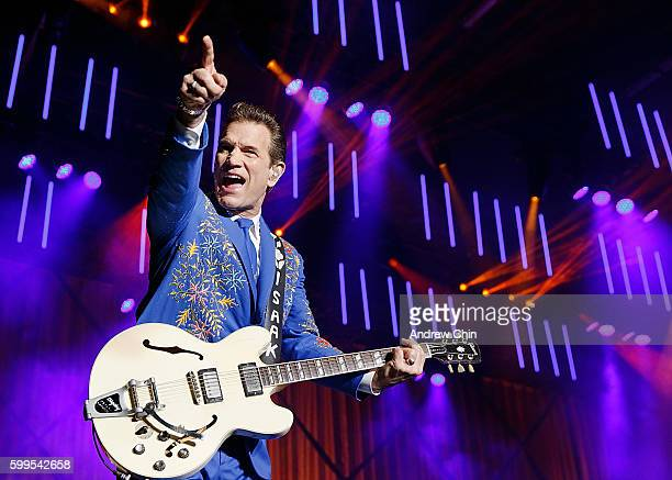 American rock musician Chris Isaak performs onstage during PNE Summer Night Concert Series at PNE Amphitheatre on September 5 2016 in Vancouver Canada