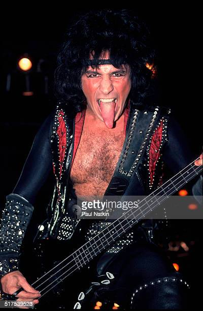 American rock musician Gene Simmons of the group Kiss performs onstage Milwaukee Wisconsin December 30 1984