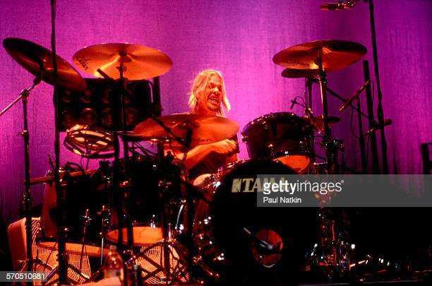 American Rock musician Taylor Hawkins of the band Foo Fighters plays drums as he performs at the Riviera Theater Chicago Illinois December 15 2001