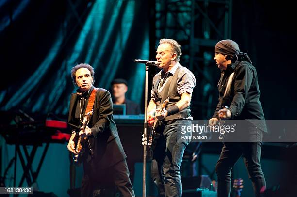 American rock musicians Nils Lofgren Bruce Springsteen and Steve Van Zandt perform on stage with the E Street Band during the 'Wrecking Ball' tour at...