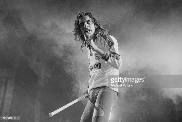American rock singer Alice Cooper performing on his Welcome To My Nightmare tour at the Empire Pool Wembley London 11th September 1975 Cooper is...