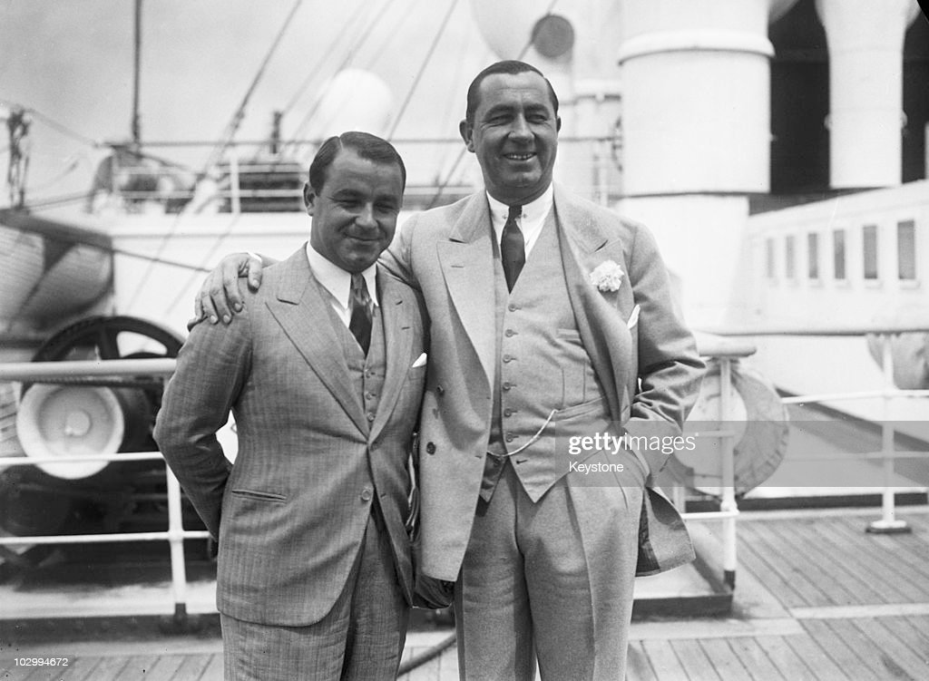 American Ryder Cup golfer Gene Sarazen with Team United States captain Walter Hagen on board the RMS Aquitania on arrrival in Southampton 21st June...
