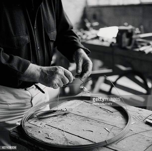 American sculptor Alexander Calder works on a new piece in his studio in Sache France Calder is known internationally for his unique mobiles