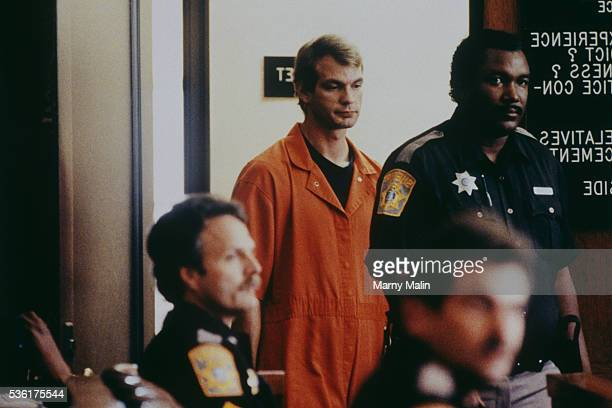 American serial killer and sex offender Jeffrey Dahmer aka The Butcher of Milwaukee is indicted on 17 murder charges men and boys of African or Asian...