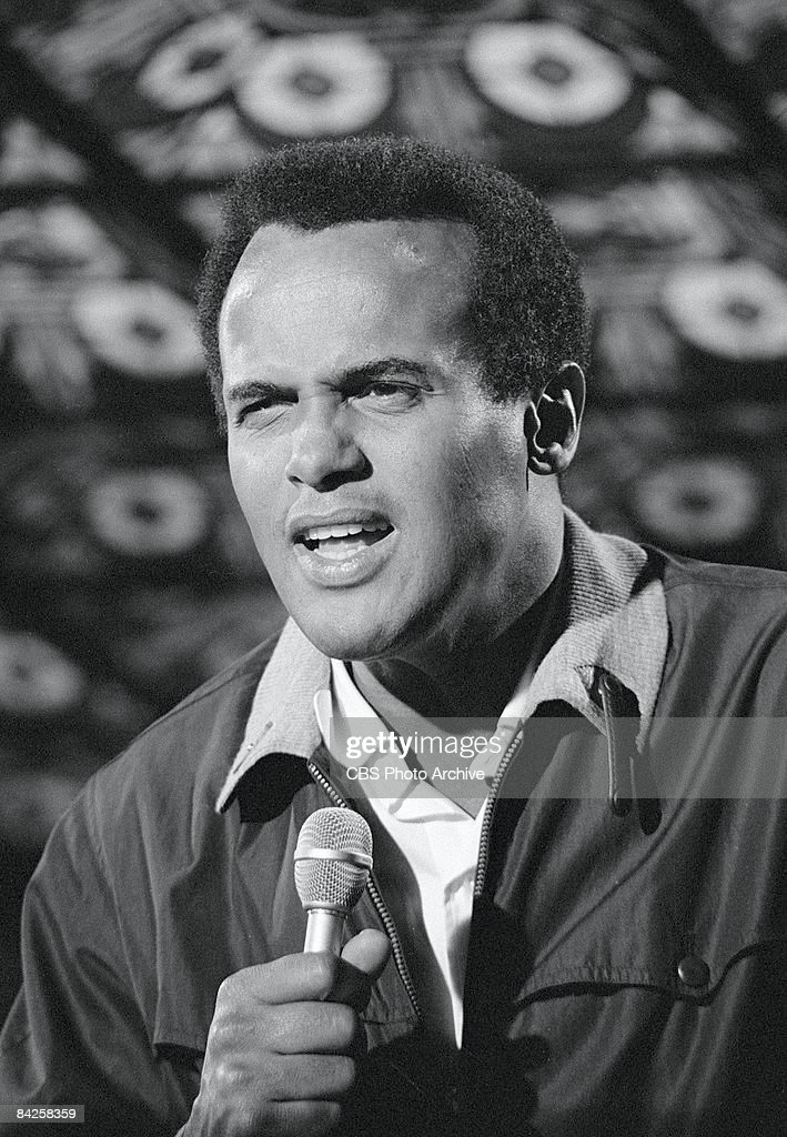 American singer, actor, and social activist Harry Belafonte performs on an episode of the television comedy and variety show, 'The Smothers Brothers Comedy Hour,' Los Angeles, California, September 20, 1968.