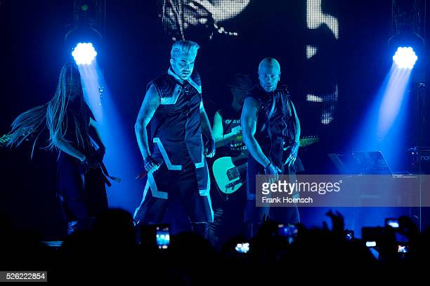 American singer Adam Lambert performs live during a concert at the Huxleys on April 29 2016 in Berlin Germany