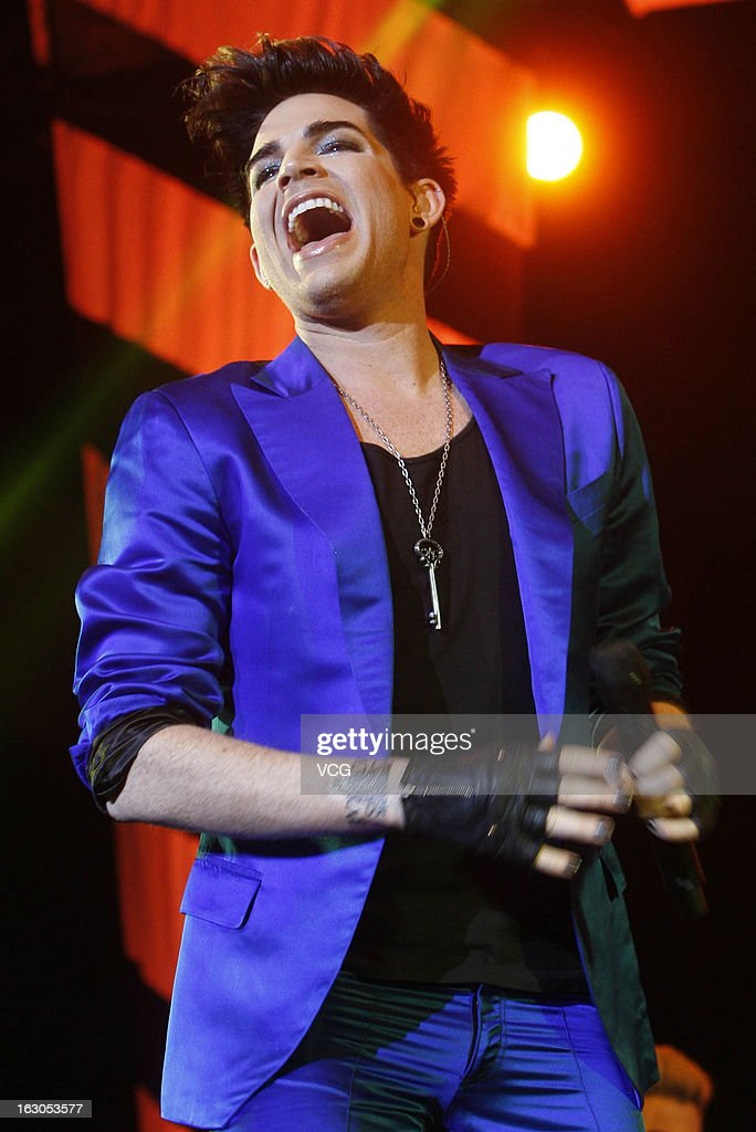 American singer <a gi-track='captionPersonalityLinkClicked' href=/galleries/search?phrase=Adam+Lambert&family=editorial&specificpeople=5706674 ng-click='$event.stopPropagation()'>Adam Lambert</a> performs on stage in concert at Mercedes-Benz Arena on March 3, 2013 in Shanghai, China.