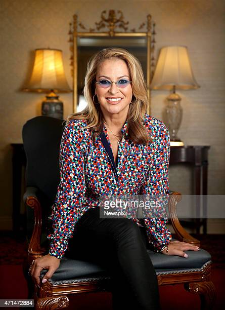 American singer Anastacia poses during a photo shoot at the Stamford Hotel on April 28 2015 in Sydney Australia