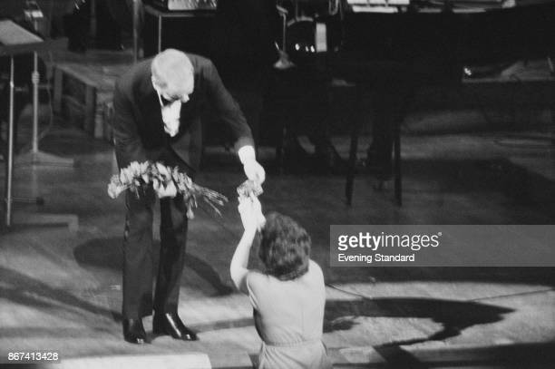 American singer and actor Frank Sinatra and a fan at the Royal Festival Hall London UK 12th September 1978