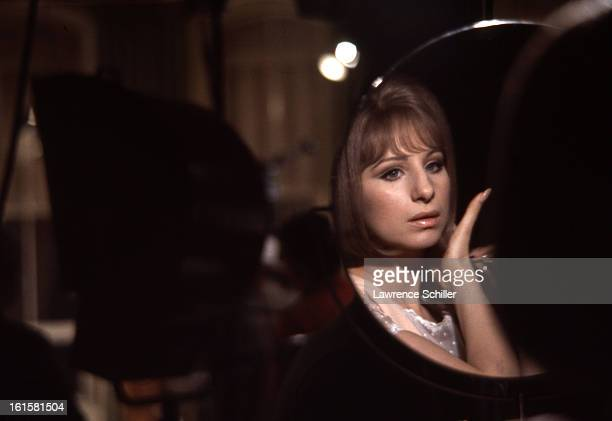 American singer and actress Barbra Streisand sits in front of her makeup mirror during the filming the motion picture 'On a Clear Day You Can See...
