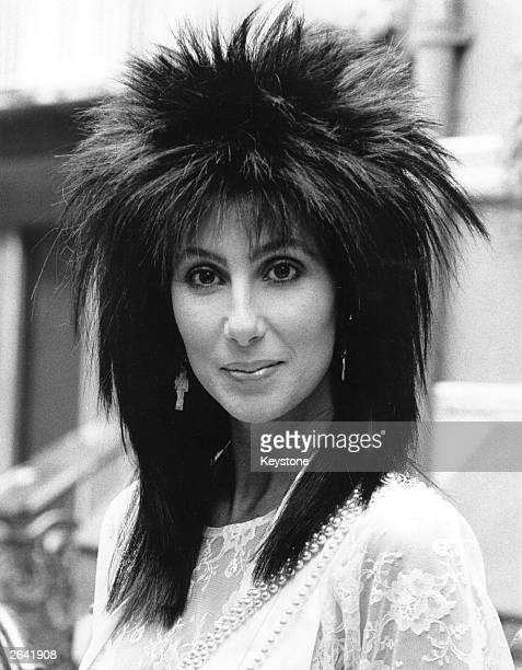 American singer and actress Cher arrives in London to promote the film 'Mask'