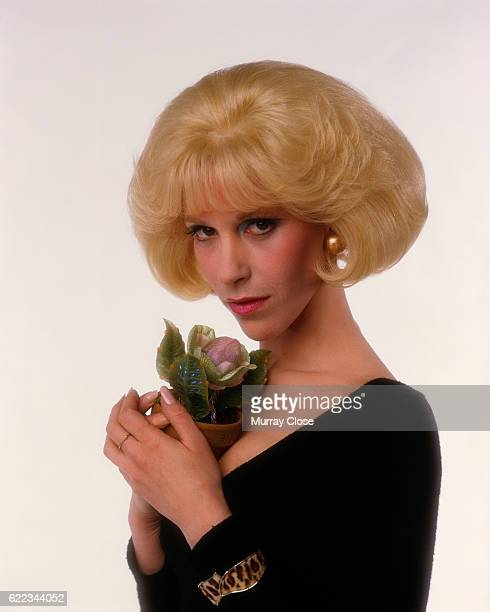 American Singer and Actress Ellen Greene with a plant from the film Little Shop of Horrors