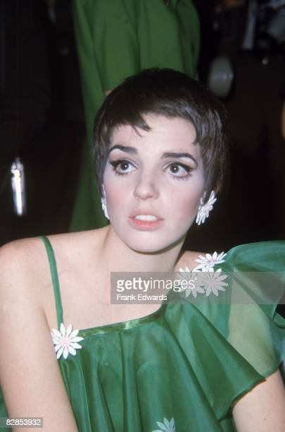 American singer and actress Liza Minnelli wearing a green dress with daisies at the Tony Awards in New York City 1968