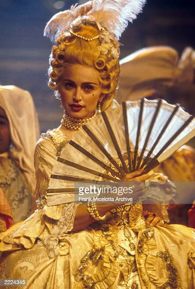 American singer and actress Madonna performing her song 'Vogue' on the MTV Video Music Awards in September 1990 Photo by Frank Micelotta/ImageDirect