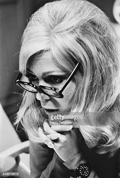 American singer and actress Nancy Sinatra in a recording studio 1967