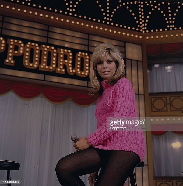 1968 American singer and actress Nancy Sinatra posed on the set of the 'Hippodrome Show' on television in 1968
