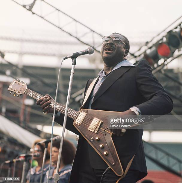 Albert King US blues guitarist and singer performs on stage as part of the Newport Jazz Festival held in New York City New York USA in July 1977