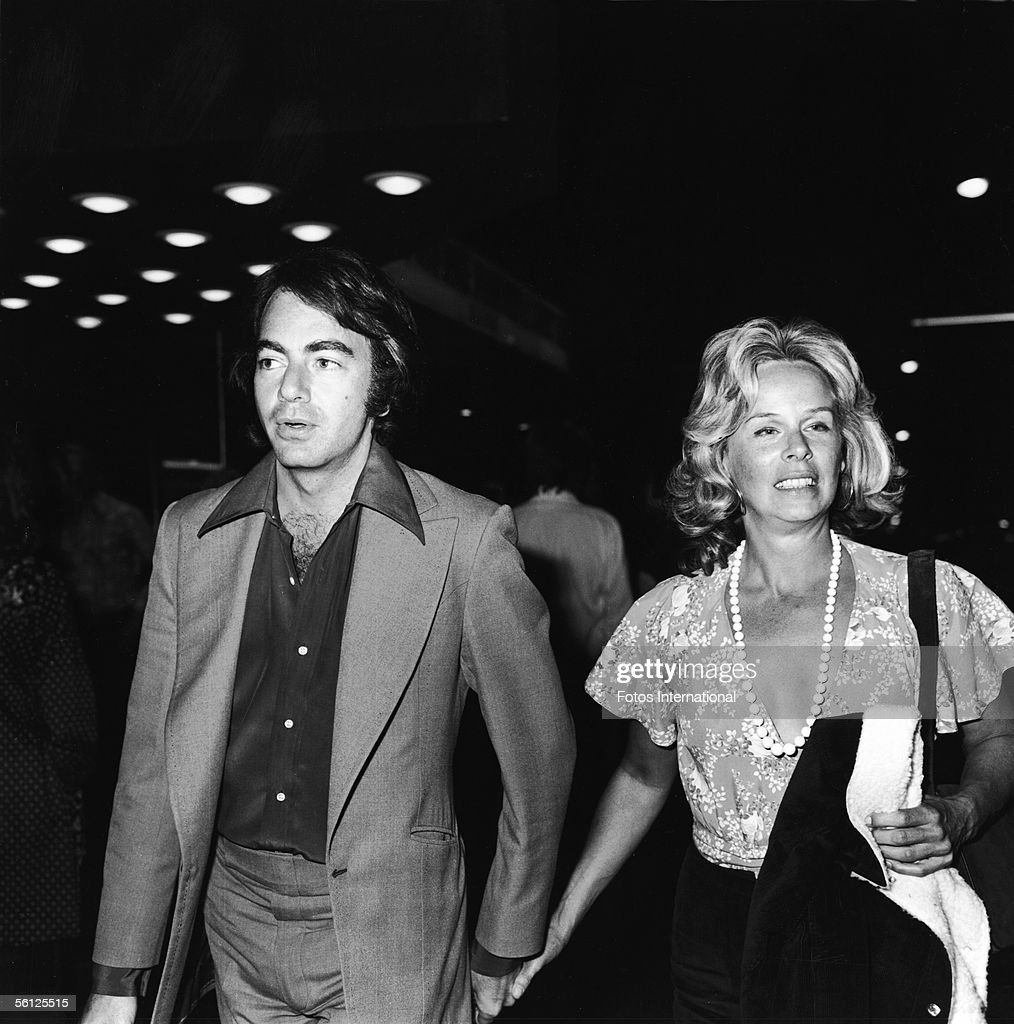 American singer and entertainer Neil Diamond and his second wife television producer Marcia Murphey attend Bruce Springsteen's debut at the Roxy nightclub, Sunset Strip, Hollywood, California, October 1975.