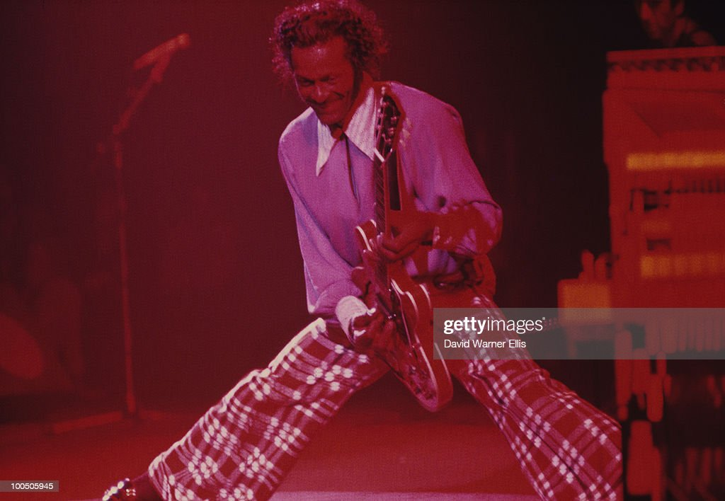 American singer and guitarist Chuck Berry performs on stage at the Rainbow Theatre in London, England on January 19, 1973.