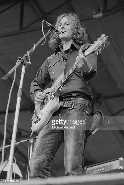 American singer and guitarist Roger Mcguinn performing with the Roger McGuinn Band at a free concert in Hyde Park London 31st August 1974