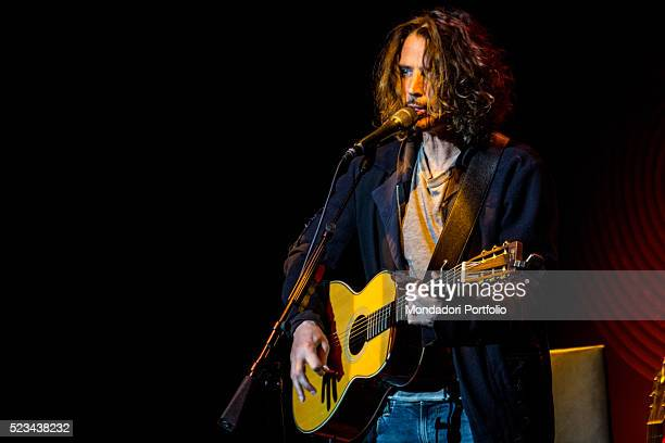American singer and musician Chris Cornell one of the most appreciated grunge and alternative artist during his acoustic concert at the Teatro degli...