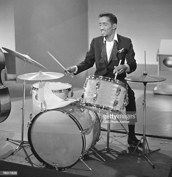 American singer and musician Sammy Davis Jr plays drums on an episode of the Ed Sullivan Show January 6 1963