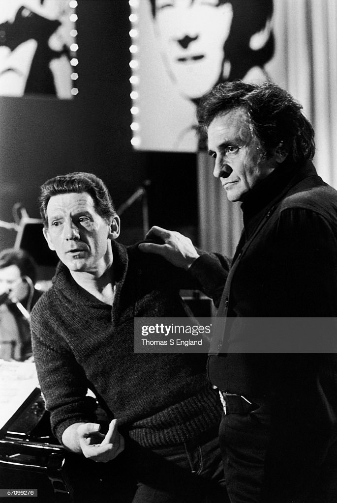 American singer and pianist Jerry Lee Lewis (left) and singer and guitarist <a gi-track='captionPersonalityLinkClicked' href=/galleries/search?phrase=Johnny+Cash&family=editorial&specificpeople=93620 ng-click='$event.stopPropagation()'>Johnny Cash</a> on stage during a sound check at the Performing Arts Center, Nashville, Tennessee, January 22, 1982.