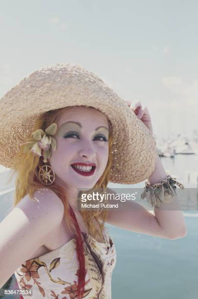 American singer and songwriter Cyndi Lauper in Hawaii 1986