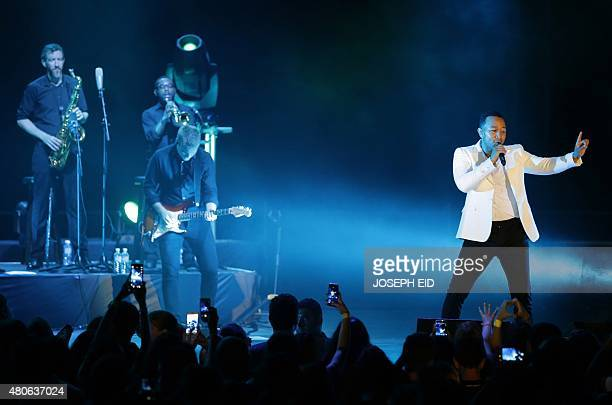 American singer and songwriter John Legend performs during the Byblos International festival 2015 in the historical Lebanese city of Byblos north of...