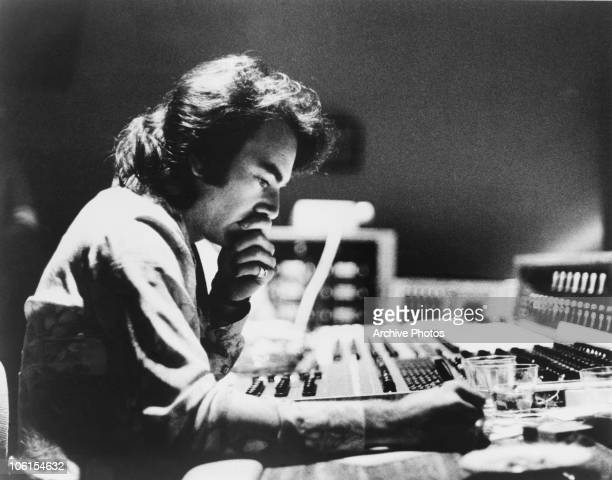 American singer and songwriter Neil Diamond in a recording studio circa 1975